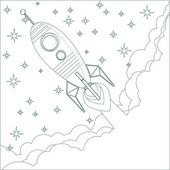 Cartoon Flying Rocket in the Sky with stars.  Contour vector — Vettoriale Stock