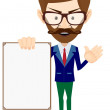 Businessman with blank poster, vector illustration — Stock Vector #65248319
