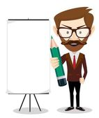 Businessman with a poster and pencil, vector illustration — Stock Vector