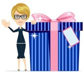 Girl with a great gift, vector illustration — Stock Vector
