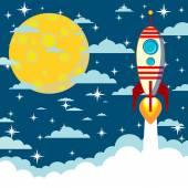 Cartoon rocket takes off, vector illustration — Stock Vector