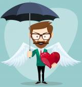 Angel Man with an umbrella, Wings and Heart, vector illustration — Stock Vector