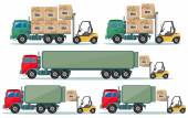 Long truck with cargo goes to the warehouse, vector illustration — Stock vektor