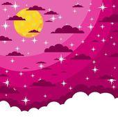 Night beautiful moonlit sky, vector illustration — Stock Vector