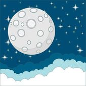 Full moon on background of the night sky, vector illustration — Vector de stock