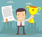 Man proudly standing holding up winning trophy and showing an award certificate. Flat style — Stock Vector