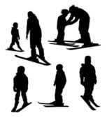 Ski school for kids. silhouettes — Stock Vector