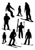 Ski sport silhouette — Vecteur