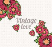 Vintage background with floral emblem — Stock Vector