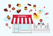 Sweetshop modern icons — Vettoriale Stock