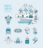 Conjuntos de icono de invierno y leñador — Vector de stock