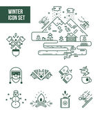 Winter and lumberjack icon sets — Stock Vector