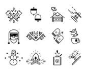 Winter and lumberjack icon sets. — Stock Vector
