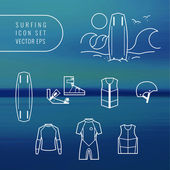 Wake boarding and surfing icon set — Stockvektor