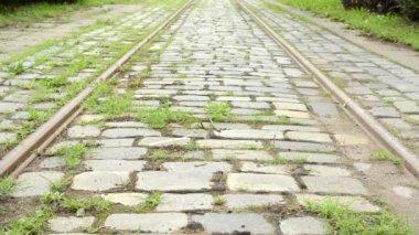 Tram track - grass — Stock Video
