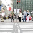 Pedestrians waiting at traffic lights - busy urban street with cars in the city: people crossing the road — Stock Video #52173037