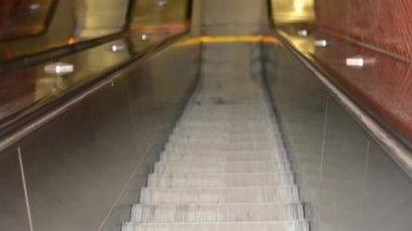 Movement on escalators - downstairs — Stock Video