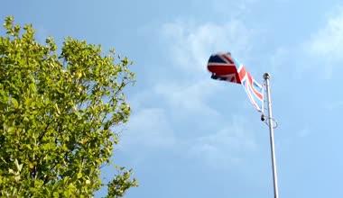 Соединенное Королевство Великобритании и Ирландии - флаг - зеленое дерево - голубое небо - Солнечный — Стоковое видео