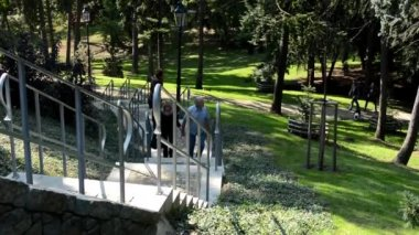 People walking in the park - staircase - nature (grass and trees) - sunny — Vídeo de Stock