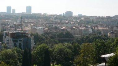 Panorama of the city (Prague, Czech Republic) - nature (trees) — Stock Video