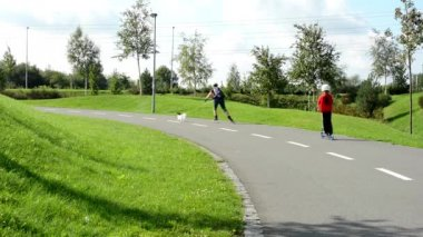 People in the park (in city) - green nature (grass and trees) - pavement - roller skaters and runners — Stok video