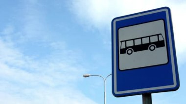 Bus stop - sign&symbol - lamp - blue sky — Stock Video