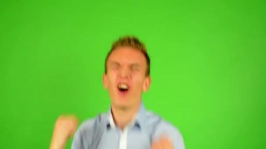 Man - green screen - portrait - man rejoices (enjoy) — Stock Video