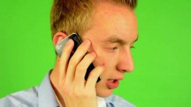Man - green screen - portrait - man on the phone - studio — Wideo stockowe