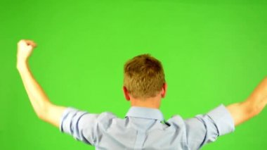 Man - green screen - portrait - man rejoices (enjoy) - win — Stock Video