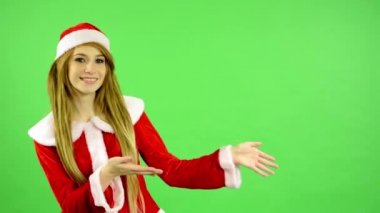 Christmas - Holidays - young attractive woman - green screen - woman introduce — 图库视频影像