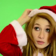 Christmas - Holidays - young attractive woman - green screen - woman dress hat — Stock Video #56648157