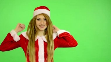 Christmas - Holidays - young attractive woman - green screen - woman rejoices — Stock Video