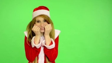Christmas - Holidays - young attractive woman - green screen - woman with cute smile — Stock Video