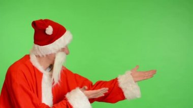 Santa claus - green screen - studio - Santa Claus introduce — Stock Video