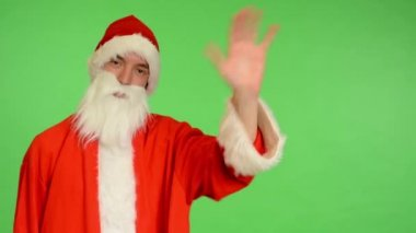 Santa claus - green screen - studio - santa claus waves — Stock Video