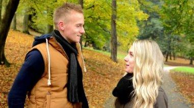 Happy couple talk (conversation) - autumn park (nature) - couple smiles (happy) — Stock Video