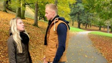 Unhappy couple - couple argue - autumn park (nature) — Stock Video
