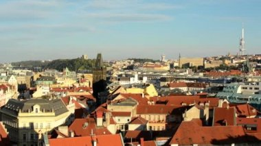 Panorama of city (Prague) - urban buildings - roofs of buildings - sunny — Stockvideo