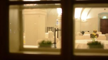 Empty restaurant - night - shot through window — Stok video