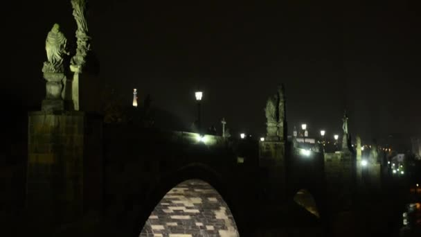 Night Charles bridge - river Vltava - lamps (lights) — Vidéo