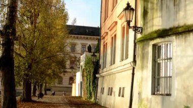 Old street - urban buildings - autumn trees - sun rays - people in background — Stock Video