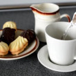 Preparation of coffee in home - milk and cookies (sweets) — Stock Video #57792739