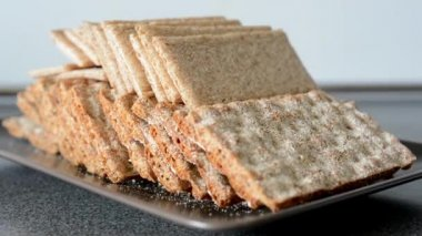 Carbohydrates - bread wafers — Stock Video