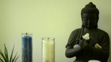 Buddha - statue with candles and nature (flower) — Vidéo