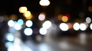 Night city - night street with cars - lamps - car headlight - soft blurred - timelapse — Stock Video