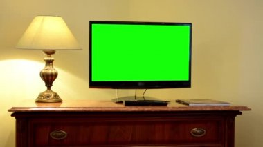 TV(television) - green screen - luxury room — Stock Video