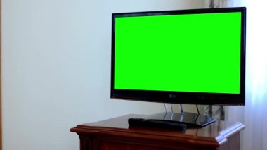TV(television) - green screen — Stock Video