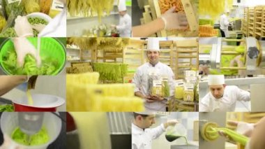 4K montage (compilation) - production of pasta (professional) - entire process - chef smiles to camera with products — Stock Video