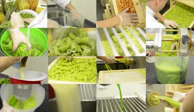 4K montage (compilation) - production of pasta (professional) - entire process — Stock video