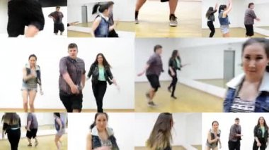 4K montage (compilation) - three dancers - group of three friends dance - two women and one man - hall - young asian woman smiles to camera — Stock Video